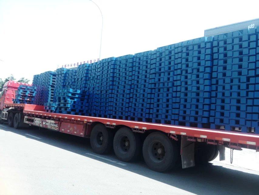 塑料托盘发货,塑料托盘装卸现场,塑料托盘运输货车